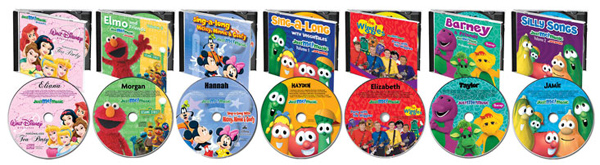 Licenced Character CDs - Mickey Mouse, Disney Princesses, Elmo, Veggie Tales, Wiggles, VeggieTales and Barney