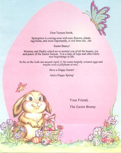 Légend image with letter from the easter bunny printable